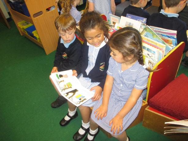 Reading to the Dolphins - our youngest children.